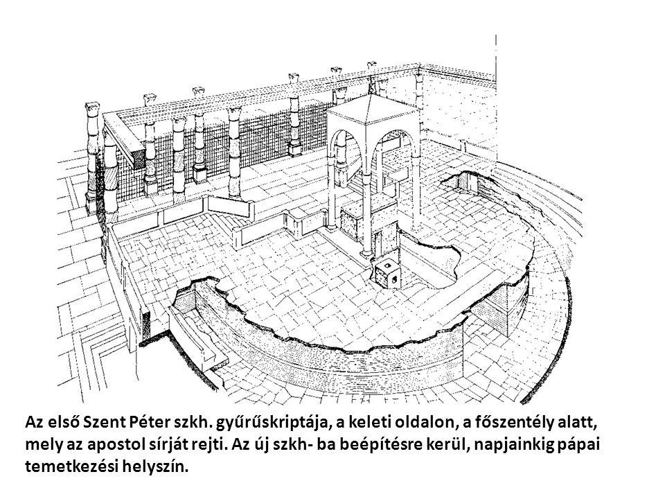 Az első Szent Péter szkh. gyűrűskriptája, a keleti oldalon, a főszentély alatt, mely az apostol sírját rejti. Az új szkh- ba beépítésre kerül, napjain