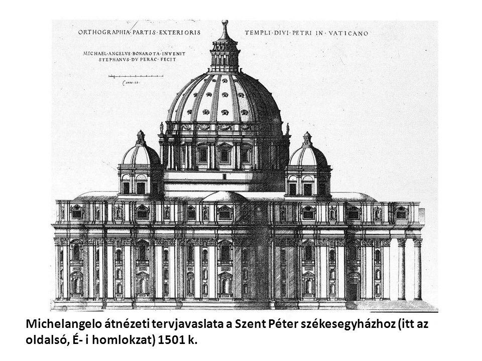 Michelangelo elképzelése az alaprajzról.Itt még görög kereszt.