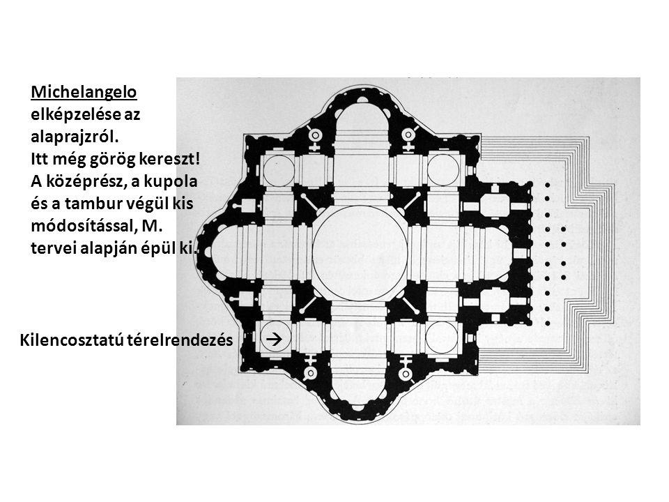 Michelangelo elképzelése az alaprajzról. Itt még görög kereszt! A középrész, a kupola és a tambur végül kis módosítással, M. tervei alapján épül ki. K