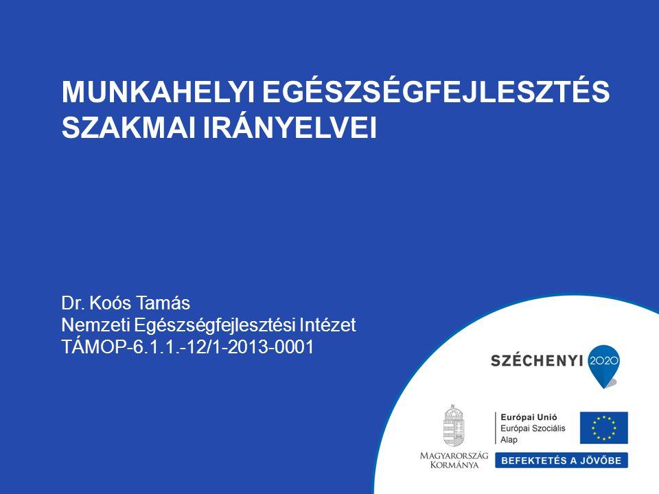 MUNKAHELYI EGÉSZSÉGFEJLESZTÉS SZAKMAI IRÁNYELVEI Dr. Koós Tamás Nemzeti Egészségfejlesztési Intézet TÁMOP-6.1.1.-12/1-2013-0001