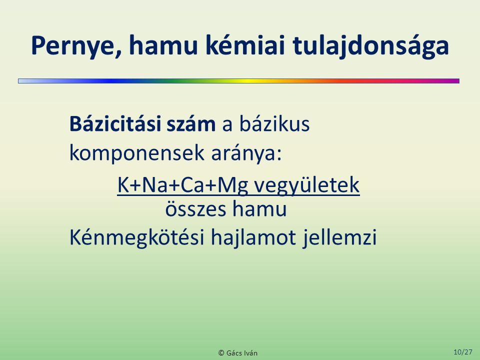 10/27 © Gács Iván Pernye, hamu kémiai tulajdonsága Bázicitási szám a bázikus komponensek aránya: K+Na+Ca+Mg vegyületek összes hamu Kénmegkötési hajlam