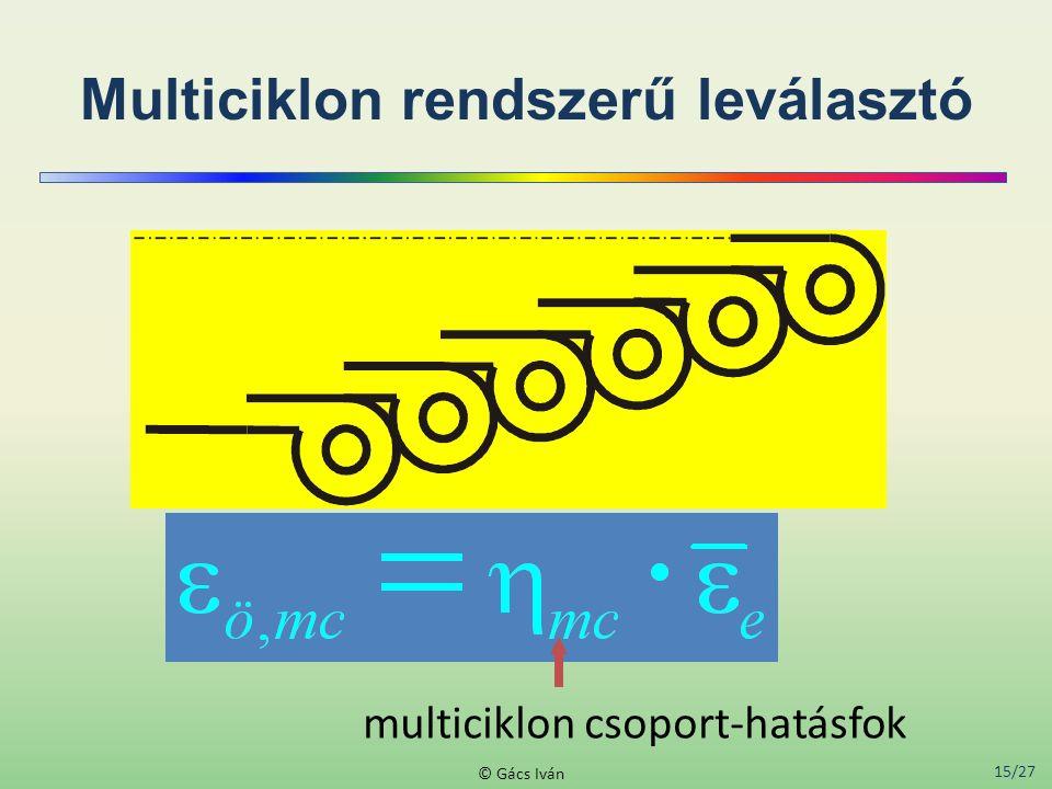 15/27 © Gács Iván Multiciklon rendszerű leválasztó multiciklon csoport-hatásfok