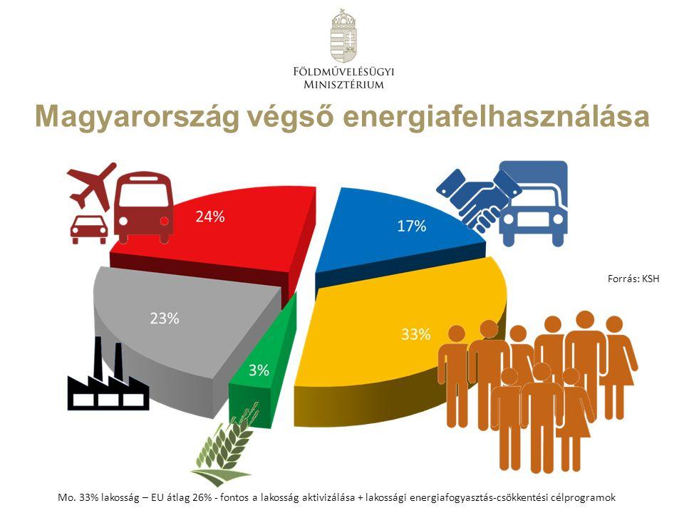 Magyarország végső energiafelhasználása Forrás: KSH Mo. 33% lakosság – EU átlag 26% - fontos a lakosság aktivizálása + lakossági energiafogyasztás-csö