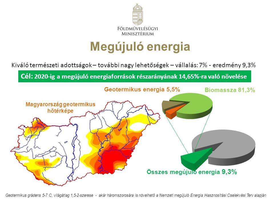 Megújuló energia Geotermikus grádens 5-7 C, világátlag 1,5-2-szerese - akár háromszorosára is növelhető a Nemzeti megújuló Energia Hasznosítási Cselekvési Terv alapján Összes megújuló energia 9,3% Biomassza 81,3% Geotermikus energia 5,5% Cél: 2020-ig a megújuló energiaforrások részarányának 14,65%-ra való növelése Magyarország geotermikus hőtérképe Kiváló természeti adottságok – további nagy lehetőségek – vállalás: 7% - eredmény 9,3%