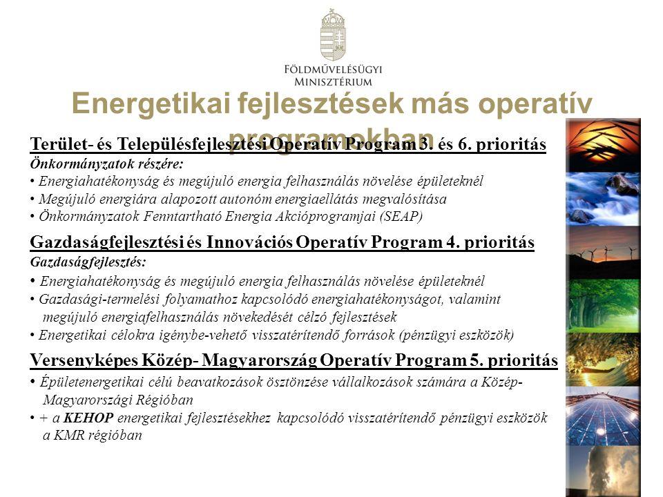Energetikai fejlesztések más operatív programokban Terület- és Településfejlesztési Operatív Program 3. és 6. prioritás Önkormányzatok részére: Energi