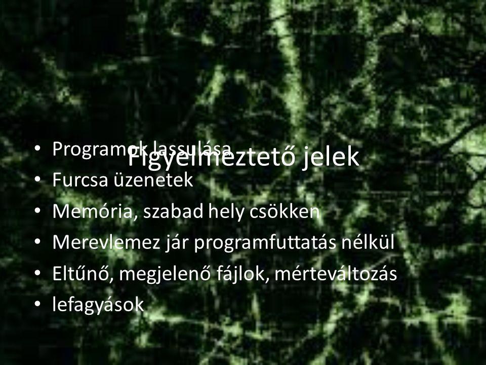 Figyelmeztető jelek Programok lassulása Furcsa üzenetek Memória, szabad hely csökken Merevlemez jár programfuttatás nélkül Eltűnő, megjelenő fájlok, mérteváltozás lefagyások