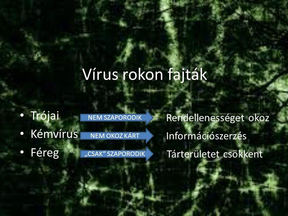 """Vírus rokon fajták Trójai Kémvírus Féreg NEM SZAPORODIK NEM OKOZ KÁRT """"CSAK SZAPORODIK Rendellenességet okoz Információszerzés Tárterületet csökkent"""