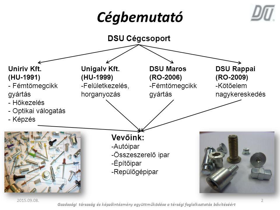 Cégbemutató 2015.09.08.2 Gazdasági társaság és képzőintézmény együttműködése a térségi foglalkoztatás bővítéséért DSU Cégcsoport Uniriv Kft. (HU-1991)