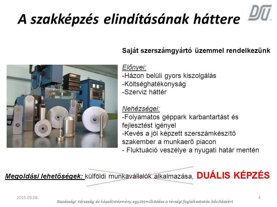 A szakképzés elindításának háttere 4 Saját szerszámgyártó üzemmel rendelkezünk Előnyei: -Házon belüli gyors kiszolgálás -Költséghatékonyság -Szerviz h