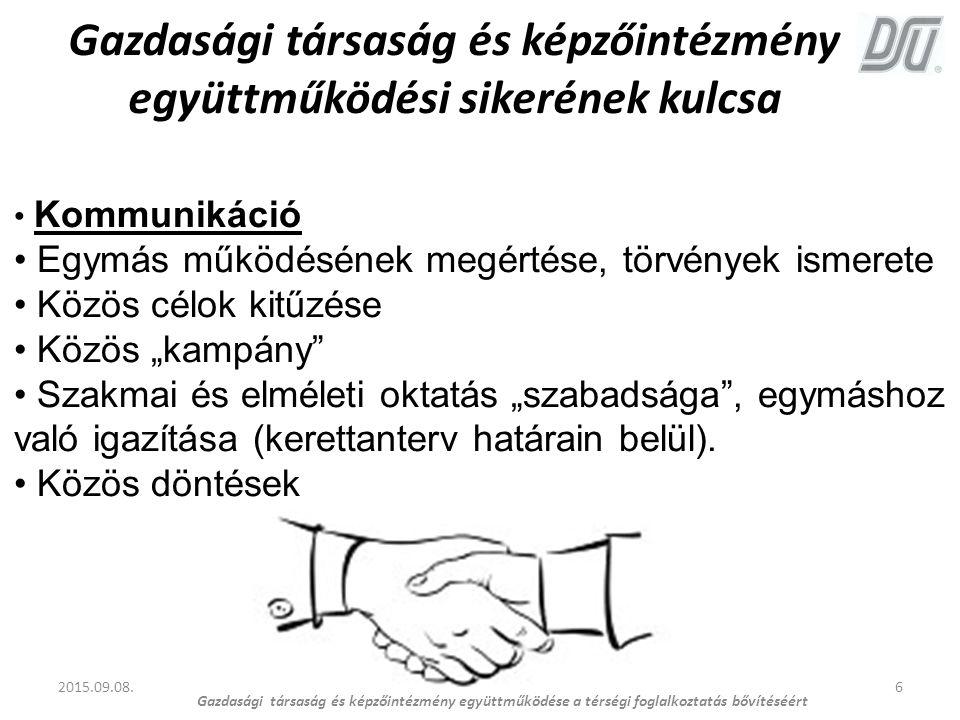 6 Gazdasági társaság és képzőintézmény együttműködési sikerének kulcsa 2015.09.08. Gazdasági társaság és képzőintézmény együttműködése a térségi fogla