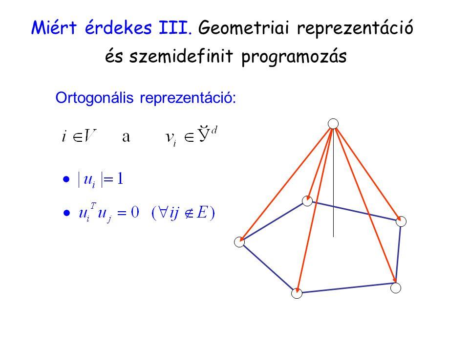 Miért érdekes III. Geometriai reprezentáció és szemidefinit programozás Ortogonális reprezentáció: