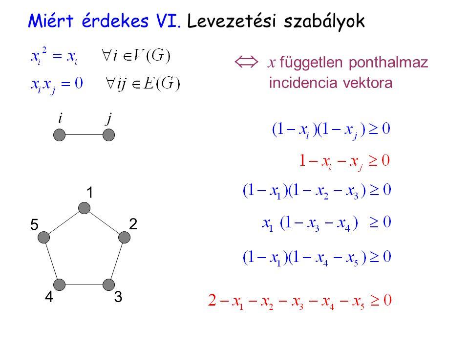  x független ponthalmaz incidencia vektora ij 1 2 5 43 Miért érdekes VI. Levezetési szabályok