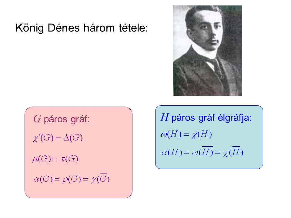 König Dénes három tétele: G páros gráf: H páros gráf élgráfja: