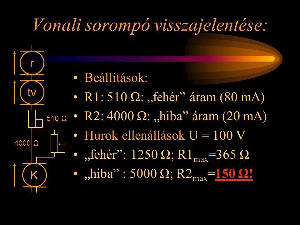 """Vonali sorompó visszajelentése: Beállítások: R1: 510 Ω: """"fehér"""" áram (80 mA) R2: 4000 Ω: """"hiba"""" áram (20 mA) Hurok ellenállások U = 100 V """"fehér"""": 125"""