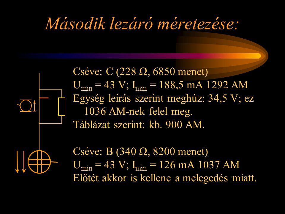 Második lezáró méretezése: Cséve: C (228 Ω, 6850 menet) U min = 43 V; I min = 188,5 mA 1292 AM Egység leírás szerint meghúz: 34,5 V; ez 1036 AM-nek fe