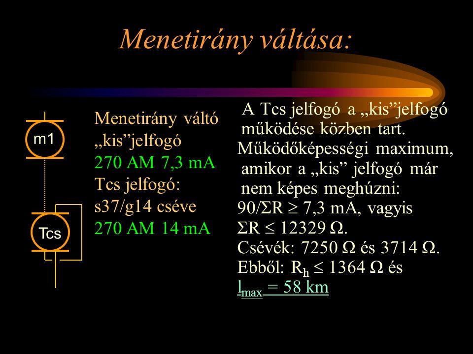 """Menetirány váltása: Menetirány váltó """"kis""""jelfogó 270 AM 7,3 mA Tcs jelfogó: s37/g14 cséve 270 AM 14 mA A Tcs jelfogó a """"kis""""jelfogó működése közben t"""