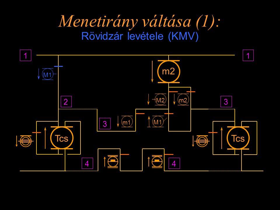 Menetirány váltása (1): Rövidzár levétele (KMV) Tcs 44 1 m2 m1 Tcs 1 m2 3 23 M1 M2 Rétlaki Győző: Méretezés_1