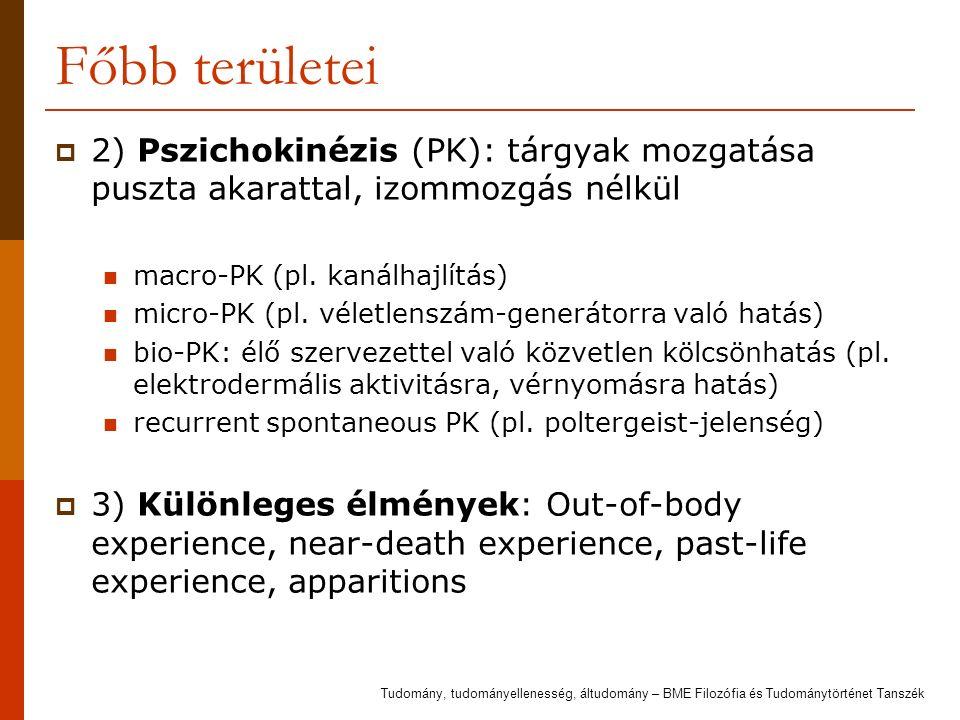 Főbb területei  2) Pszichokinézis (PK): tárgyak mozgatása puszta akarattal, izommozgás nélkül macro-PK (pl. kanálhajlítás) micro-PK (pl. véletlenszám