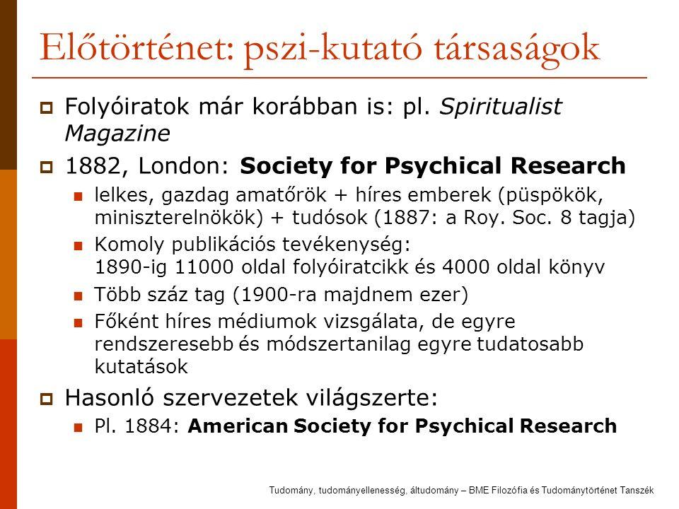 Előtörténet: pszi-kutató társaságok  Folyóiratok már korábban is: pl. Spiritualist Magazine  1882, London: Society for Psychical Research lelkes, ga
