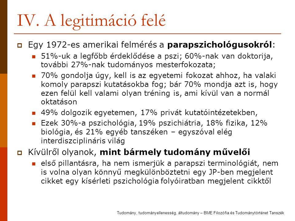 IV. A legitimáció felé  Egy 1972-es amerikai felmérés a parapszichológusokról: 51%-uk a legfőbb érdeklődése a pszi; 60%-nak van doktorija, további 27