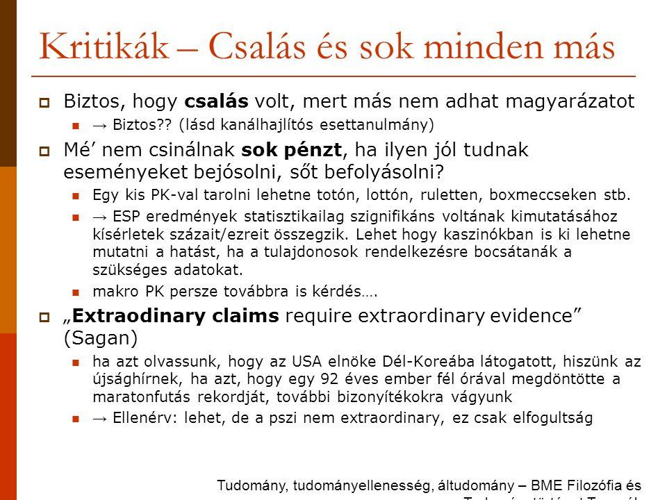 Kritikák – Csalás és sok minden más  Biztos, hogy csalás volt, mert más nem adhat magyarázatot → Biztos?? (lásd kanálhajlítós esettanulmány)  Mé' ne