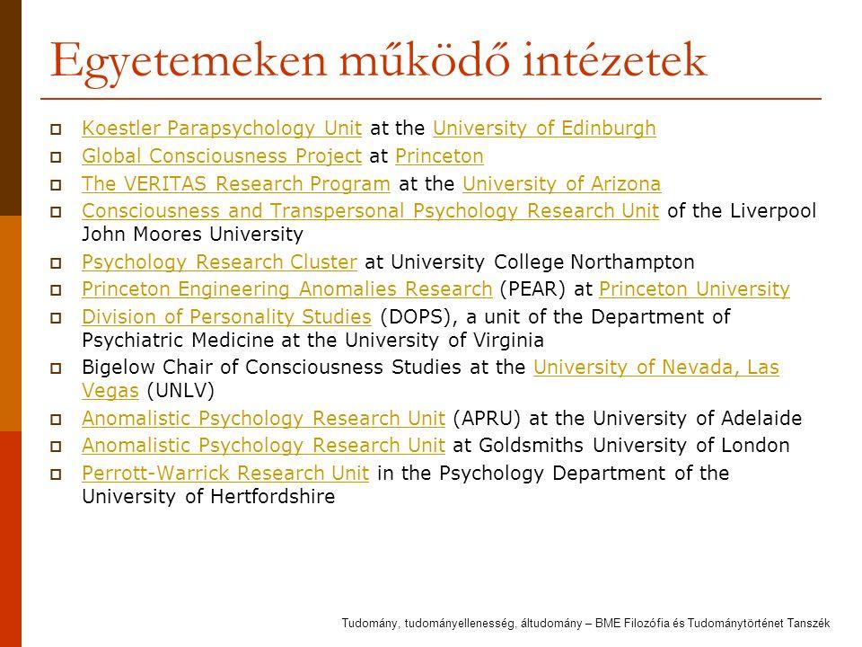 Egyetemeken működő intézetek  Koestler Parapsychology Unit at the University of Edinburgh Koestler Parapsychology UnitUniversity of Edinburgh  Globa