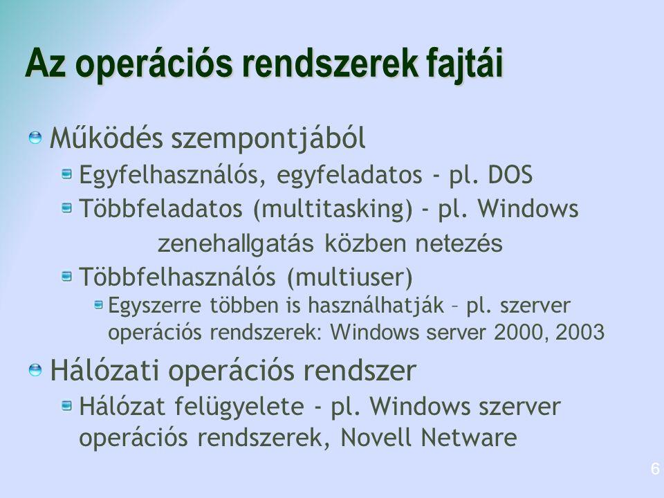 Az operációs rendszerek fajtái Működés szempontjából Egyfelhasználós, egyfeladatos - pl.