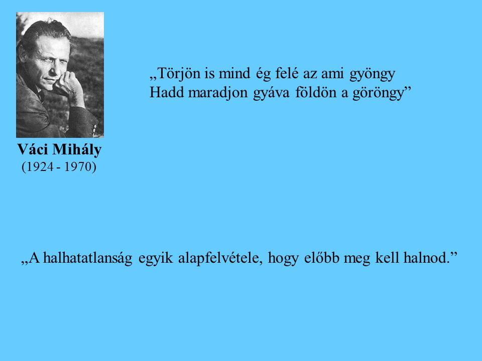 """""""Törjön is mind ég felé az ami gyöngy Hadd maradjon gyáva földön a göröngy Váci Mihály (1924 - 1970) """"A halhatatlanság egyik alapfelvétele, hogy előbb meg kell halnod."""