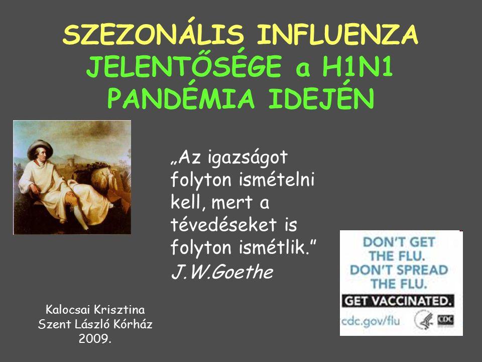 """""""Az igazságot folyton ismételni kell, mert a tévedéseket is folyton ismétlik. J.W.Goethe SZEZONÁLIS INFLUENZA JELENTŐSÉGE a H1N1 PANDÉMIA IDEJÉN Kalocsai Krisztina Szent László Kórház 2009."""