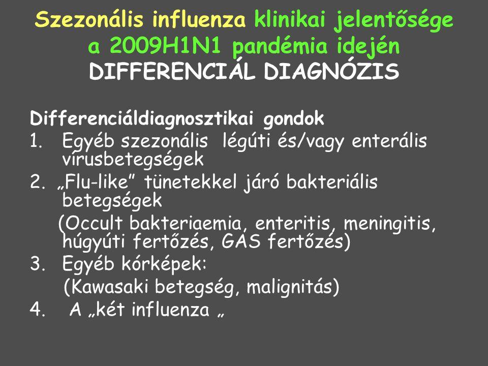 Szezonális influenza klinikai jelentősége a 2009H1N1 pandémia idején DIFFERENCIÁL DIAGNÓZIS Differenciáldiagnosztikai gondok 1.Egyéb szezonális légúti és/vagy enterális vírusbetegségek 2.