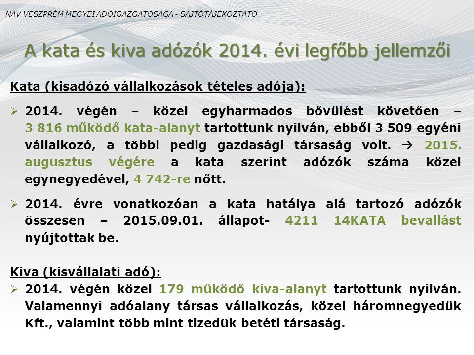 Kata (kisadózó vállalkozások tételes adója):  2014.