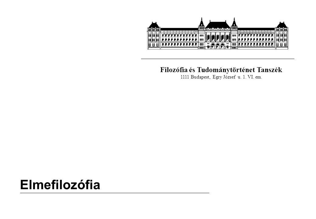 Filozófia és Tudománytörténet Tanszék 1111 Budapest, Egry József u. 1. VI. em. Elmefilozófia