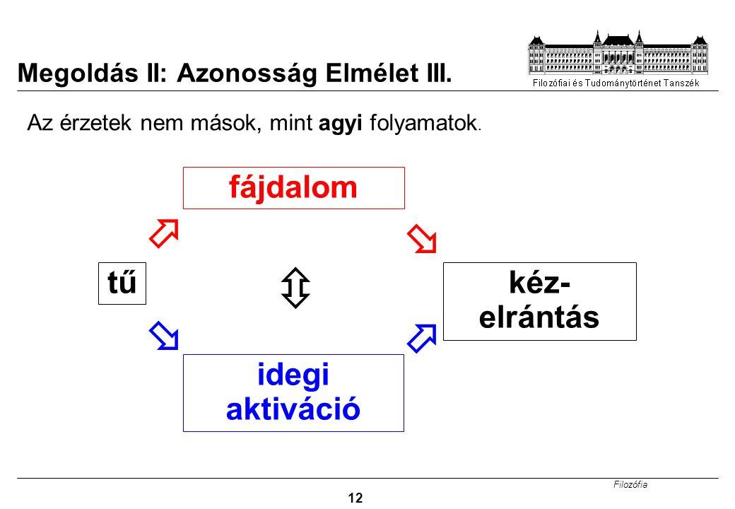 Filozófia 12 Megoldás II: Azonosság Elmélet III.