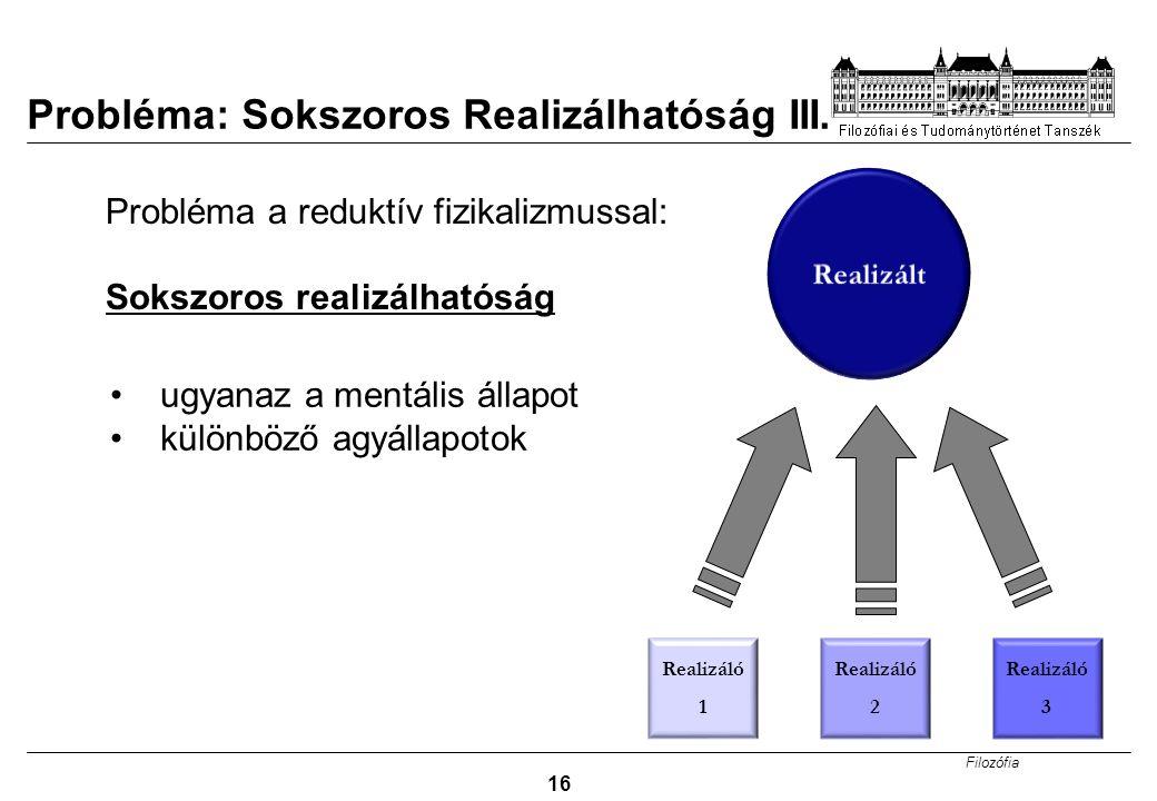 Filozófia 16 Probléma: Sokszoros Realizálhatóság III.