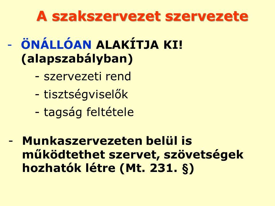 A szakszervezet szervezete -ÖNÁLLÓAN ALAKÍTJA KI! (alapszabályban) - szervezeti rend - tisztségviselők - tagság feltétele -Munkaszervezeten belül is m