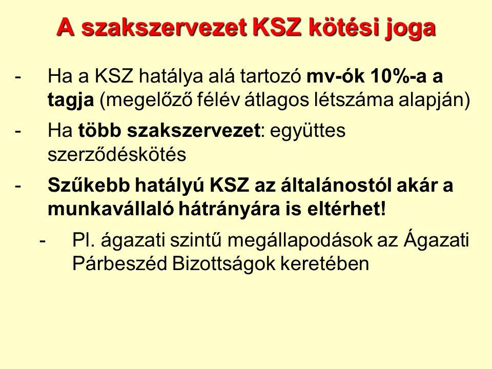 A szakszervezet KSZ kötési joga -Ha a KSZ hatálya alá tartozó mv-ók 10%-a a tagja (megelőző félév átlagos létszáma alapján) -Ha több szakszervezet: eg