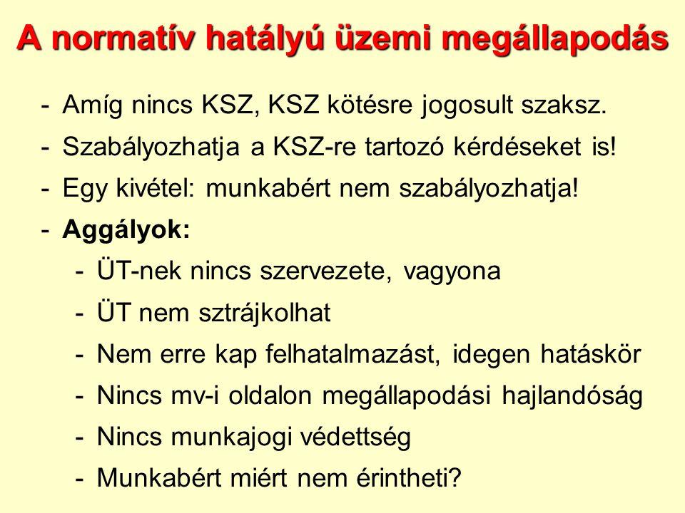 A normatív hatályú üzemi megállapodás -Amíg nincs KSZ, KSZ kötésre jogosult szaksz. -Szabályozhatja a KSZ-re tartozó kérdéseket is! -Egy kivétel: munk
