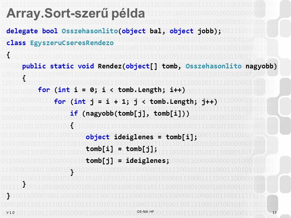 V 1.0 OE-NIK HP 13 delegate bool Osszehasonlito(object bal, object jobb); class EgyszeruCseresRendezo { public static void Rendez(object[] tomb, Osszehasonlito nagyobb) { for (int i = 0; i < tomb.Length; i++) for (int j = i + 1; j < tomb.Length; j++) if (nagyobb(tomb[j], tomb[i])) { object ideiglenes = tomb[i]; tomb[i] = tomb[j]; tomb[j] = ideiglenes; } Array.Sort-szerű példa