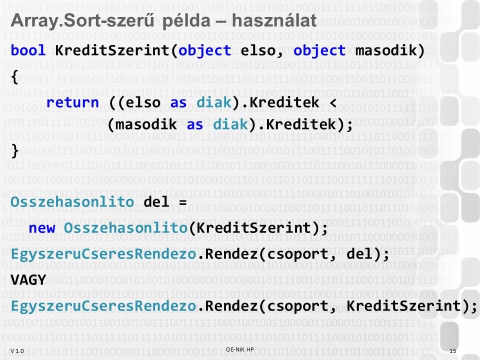 V 1.0 OE-NIK HP 15 Array.Sort-szerű példa – használat bool KreditSzerint(object elso, object masodik) { return ((elso as diak).Kreditek < (masodik as diak).Kreditek); } Osszehasonlito del = new Osszehasonlito(KreditSzerint); EgyszeruCseresRendezo.Rendez(csoport, del); VAGY EgyszeruCseresRendezo.Rendez(csoport, KreditSzerint);