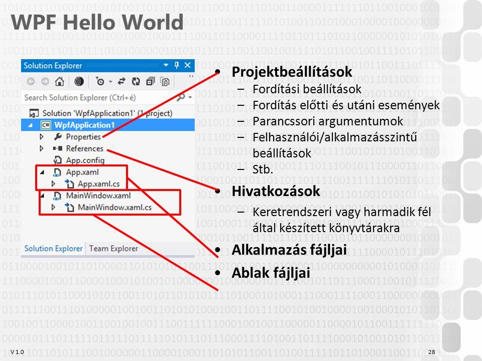 V 1.0 WPF Hello World Projektbeállítások –Fordítási beállítások –Fordítás előtti és utáni események –Parancssori argumentumok –Felhasználói/alkalmazásszintű beállítások –Stb.