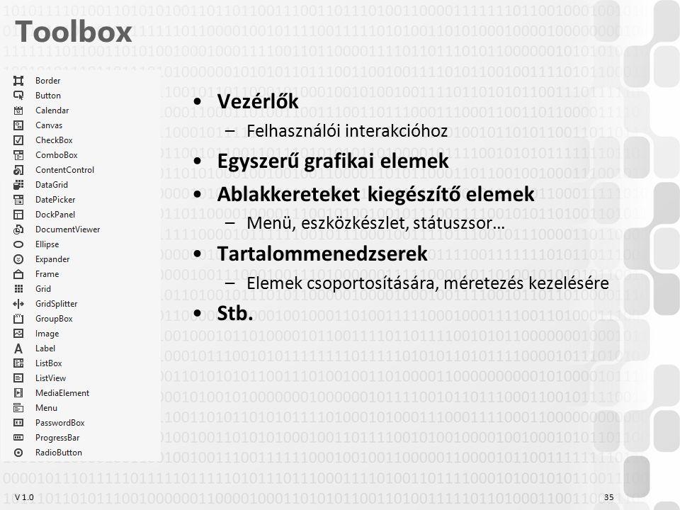 V 1.0 Toolbox Vezérlők –Felhasználói interakcióhoz Egyszerű grafikai elemek Ablakkereteket kiegészítő elemek –Menü, eszközkészlet, státuszsor… Tartalommenedzserek –Elemek csoportosítására, méretezés kezelésére Stb.