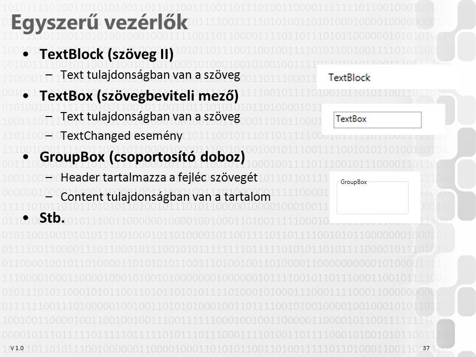 V 1.0 Egyszerű vezérlők TextBlock (szöveg II) –Text tulajdonságban van a szöveg TextBox (szövegbeviteli mező) –Text tulajdonságban van a szöveg –TextChanged esemény GroupBox (csoportosító doboz) –Header tartalmazza a fejléc szövegét –Content tulajdonságban van a tartalom Stb.