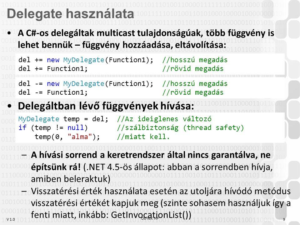 """V 1.0 OE-NIK HP 10 Saját delegált megadása: –""""Olyan függvényt képes fogadni, aminek double visszatérési értéke van, és egy int és egy string paramétere – +kovariancia + kontravariancia Szinte soha nincs rá szükség, a keretrendszerben rengeteg a beépített delegált típus, használjuk inkább ezeket."""