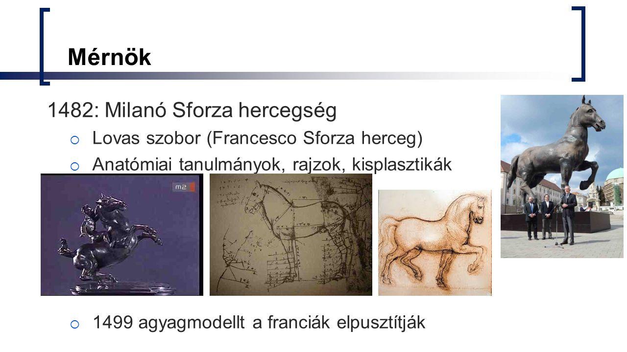Mérnök 1482: Milanó Sforza hercegség  Lovas szobor (Francesco Sforza herceg)  Anatómiai tanulmányok, rajzok, kisplasztikák  1499 agyagmodellt a fra