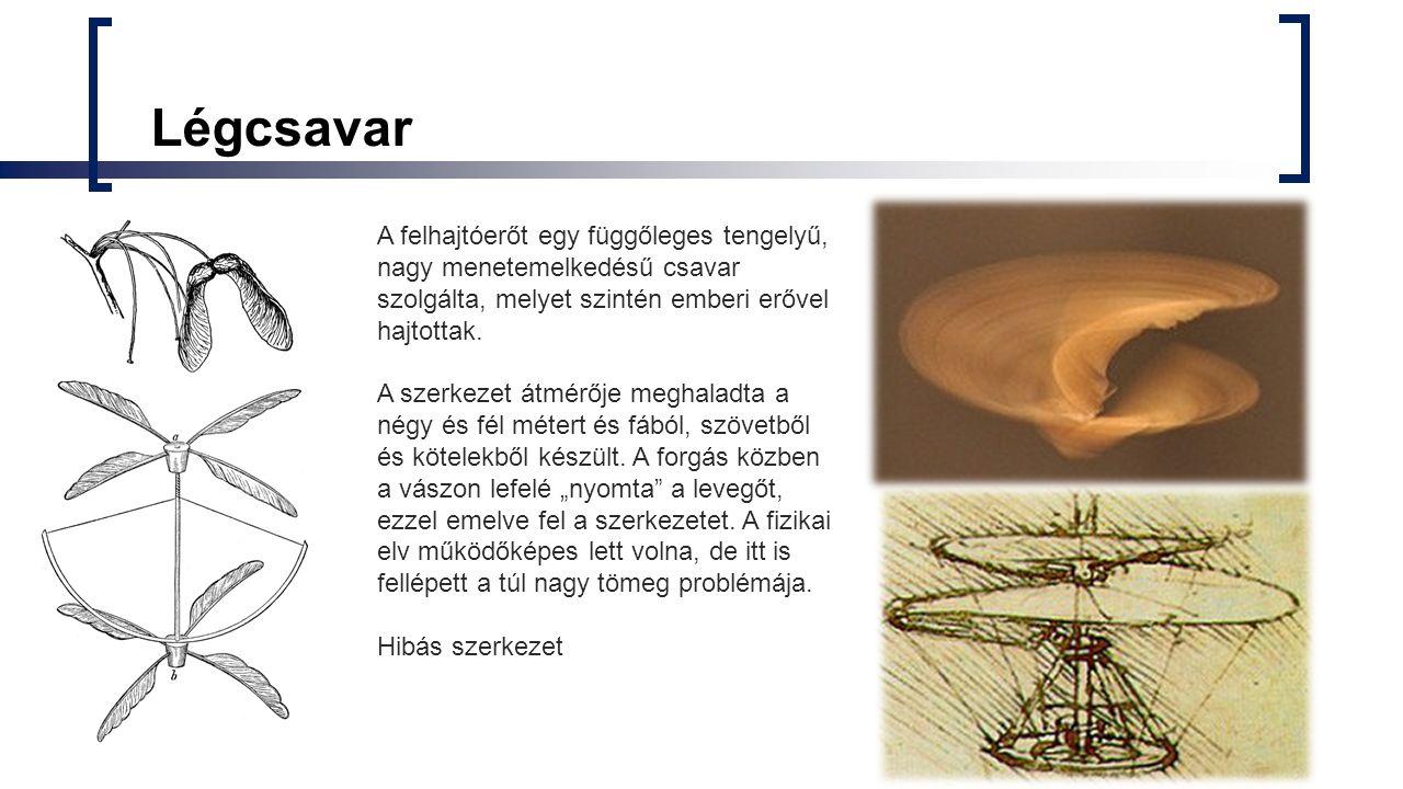 Légcsavar A felhajtóerőt egy függőleges tengelyű, nagy menetemelkedésű csavar szolgálta, melyet szintén emberi erővel hajtottak. A szerkezet átmérője