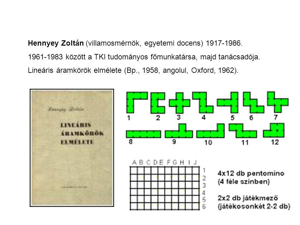 Hennyey Zoltán (villamosmérnök, egyetemi docens) 1917-1986. 1961-1983 között a TKI tudományos főmunkatársa, majd tanácsadója. Lineáris áramkörök elmél