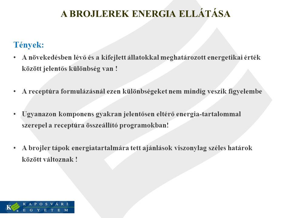 A BROJLEREK ENERGIA ELLÁTÁSA Tények: A növekedésben lévő és a kifejlett állatokkal meghatározott energetikai érték között jelentős különbség van ! A r