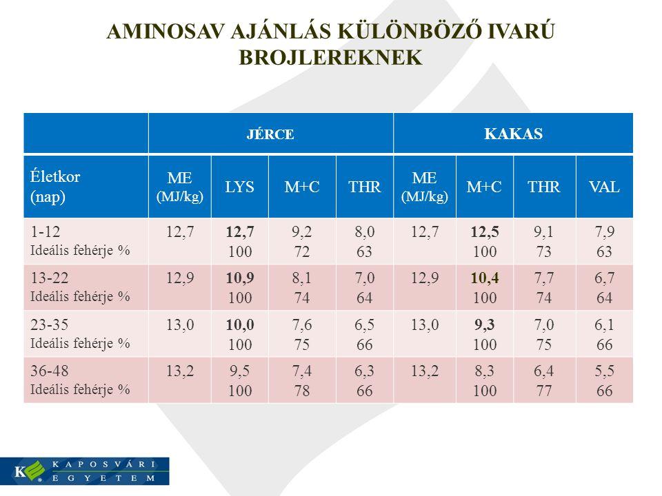 AMINOSAV AJÁNLÁS KÜLÖNBÖZŐ IVARÚ BROJLEREKNEK JÉRCE KAKAS Életkor (nap) ME (MJ/kg) LYSM+CTHR ME (MJ/kg) M+CTHRVAL 1-12 Ideális fehérje % 12,7 100 9,2