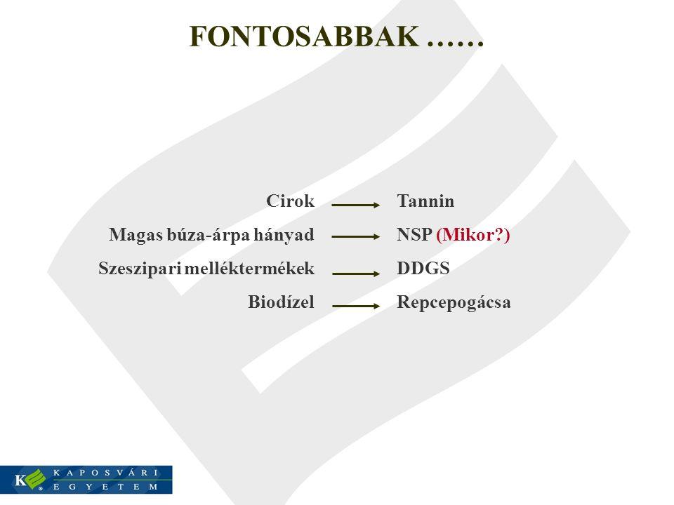 FONTOSABBAK …… Cirok Magas búza-árpa hányad Szeszipari melléktermékek Biodízel Tannin NSP (Mikor?) DDGS Repcepogácsa