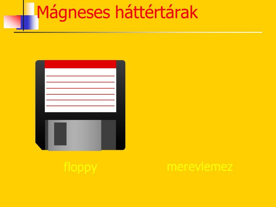 Floppy Mágneses fóliakorong Sávok, szektorok Koncentrikus körök Kapacitása: 1,44 MB Mágneses fémkorong Sávok, szektorok Koncentrikus körök Cilinder, f